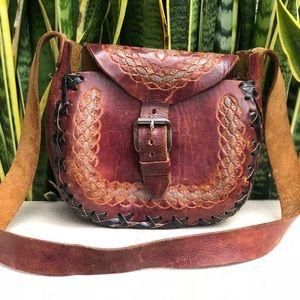 Vtg Tooled Leather Floral Handbag Purse Saddle Bag